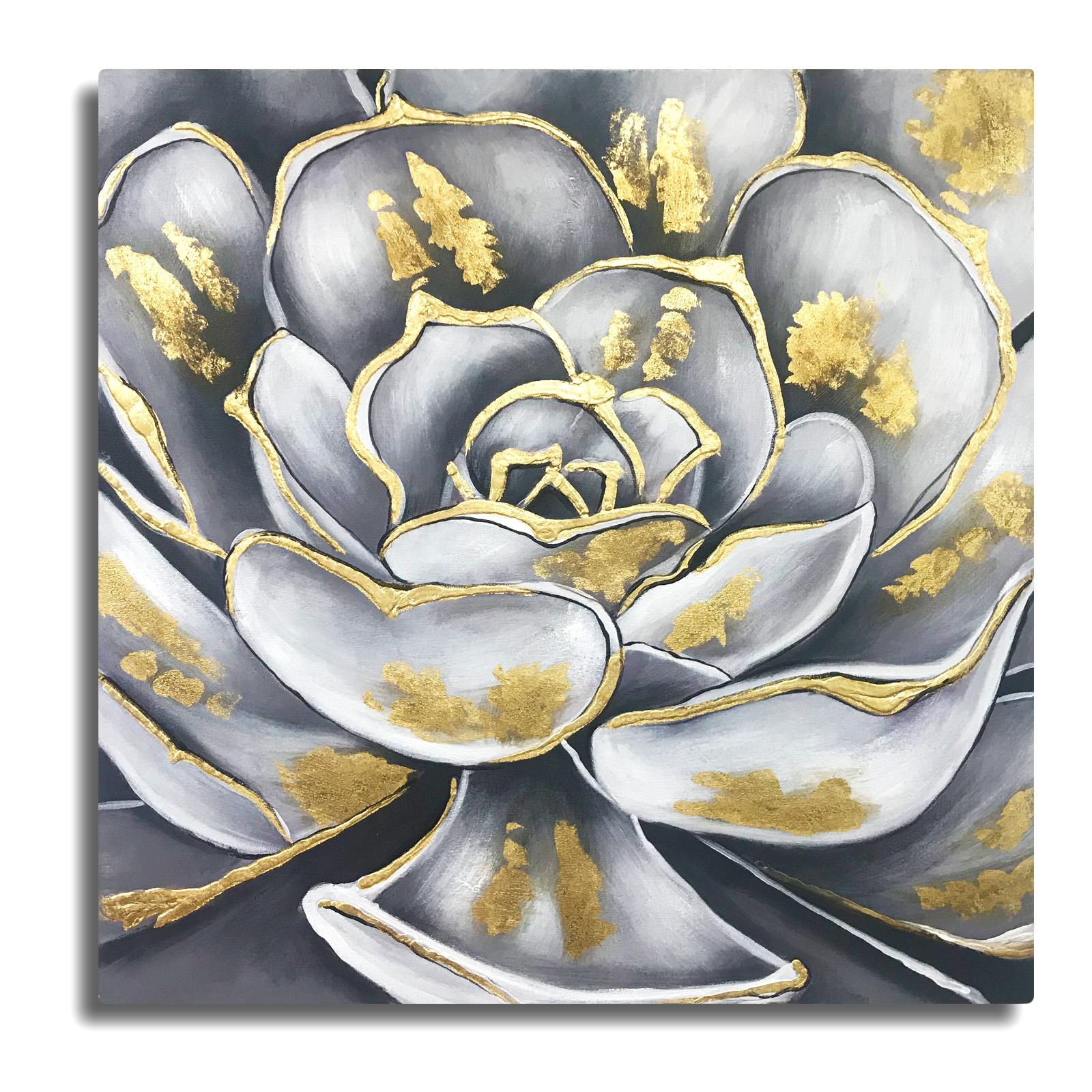 Cuadro al oleo - Pintura de una flor a mano