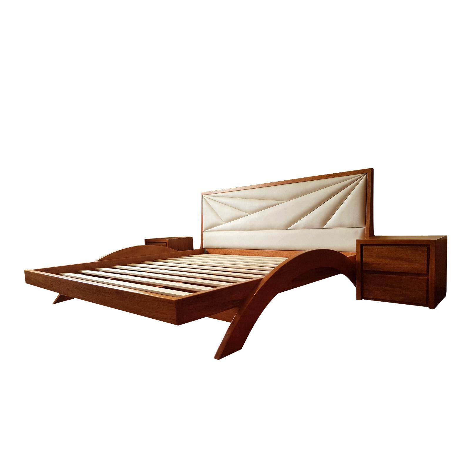 Cama flotante de madera Zeike